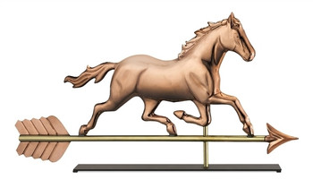 Trotting Horse Copper Weathervane Sculpture on Mantel Stand