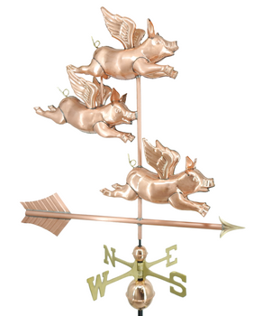 3D Three Flying Pig Weathervane