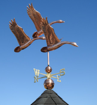 Large Three Feathered Geese Weathervane