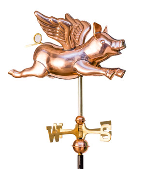 Small 3D Flying Pig Weathervane