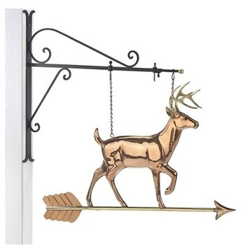 White Tail Buck Copper Weathervane Sign with Bracket
