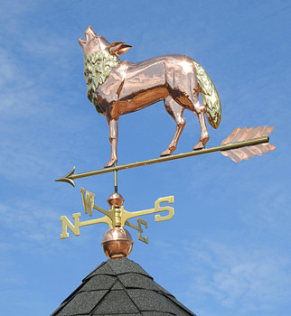 Wolf Weathervane with brass accents