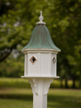 "14""x 34"" Octagon Dovecote Birdhouse with Portals and Bell Roof"