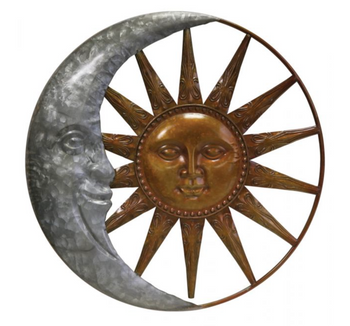 Galvanized Sun and Moon Wall Decor