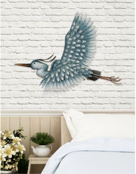 Metal Heron Wall Decor