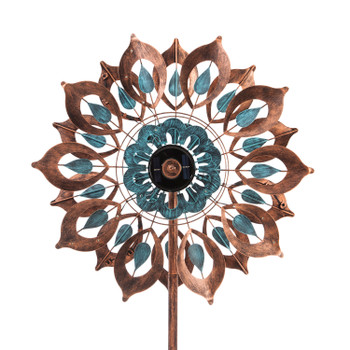 Copper And Verdigris Bloom Solar Wind Spinner