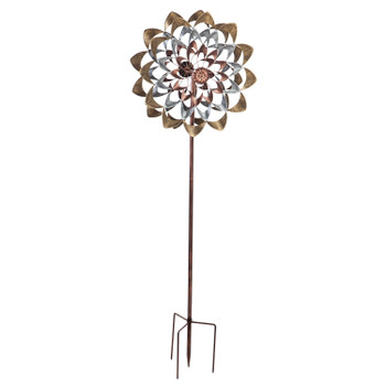 Wind Spinner, Copper and Gold Flower