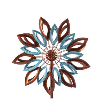 Wind Spinner, Copper and Verdigris Leaves