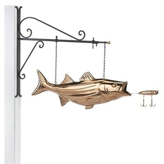 Bass with Lure Copper Weathervane Sign with Bracket