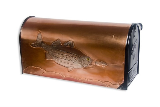 Rural Striped Bass and Lure Copper Mailbox