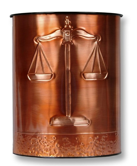 Scales of Justice Copper Waste Basket