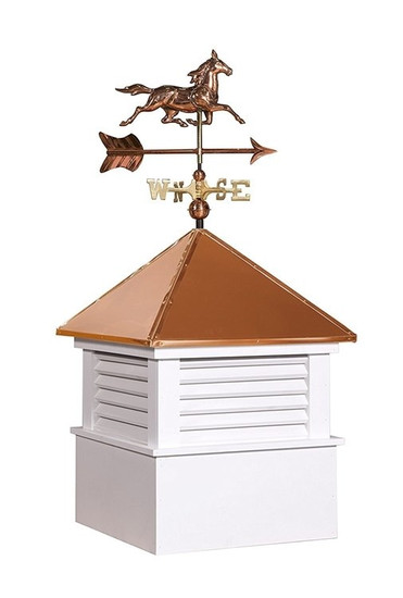 "25"" sq Vinyl Douglas Cupola With Horse Weathervane Set"