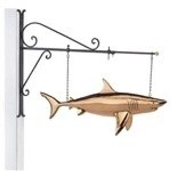 Shark Copper Weathervane Sign with Bracket