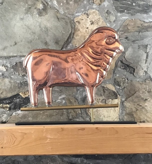 Copper Sheep with Mantle Base