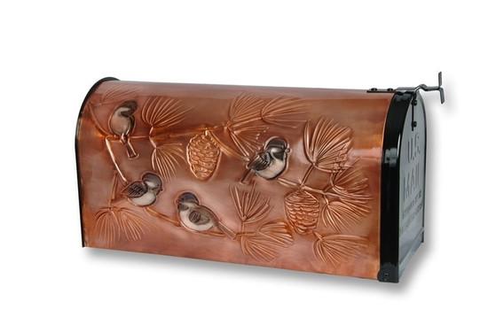 Chickadees Copper Mailbox