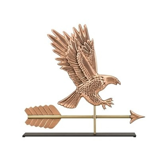 American Bald Eagle Copper Weathervane Sculpture on Mantel Stand