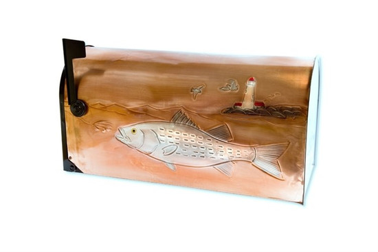 Rural Striped Bass Copper Mailbox
