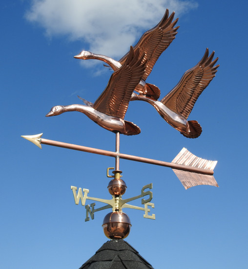 Large Three Feathered Geese Weathervane