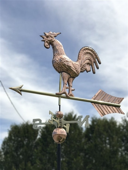 Large Full Bodied Crowing Rooster Weathervane