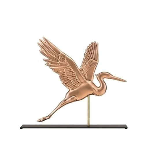 Blue Heron Copper Weathervane Sculpture on Mantel Stand