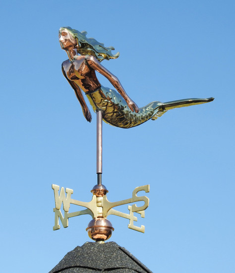 Small Mermaid Weathervane With Brass Accents