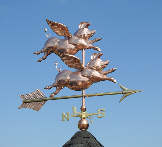 Large Two Flying Pigs Weathervane