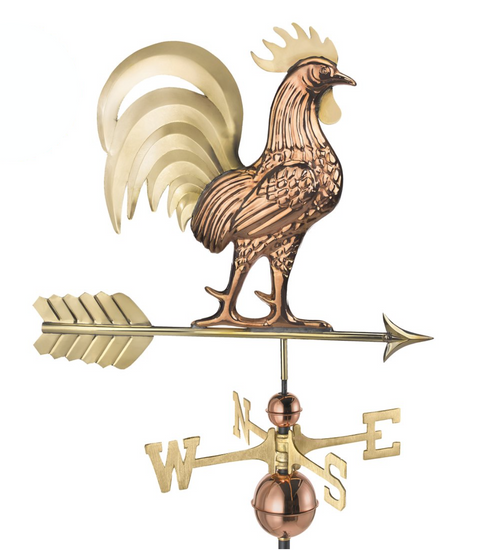 Proud Rooster Weathervane With Brass tail