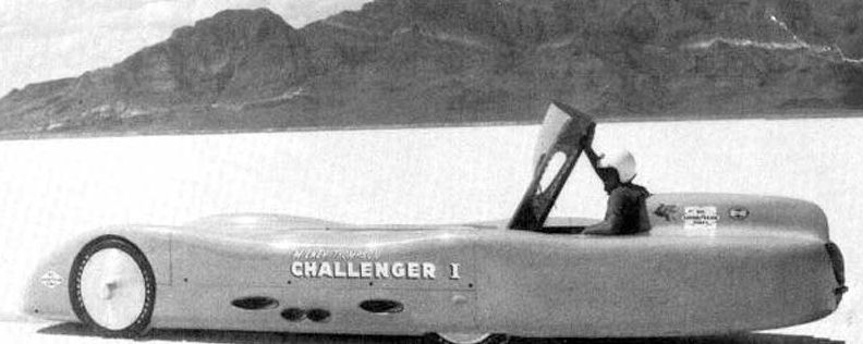 Mickey Thompson built Challenger I with four modified Pontiac V-8 engines, each with its own transmission. On October 6, 1959, he drove it to a World Speed Record of 363.48 mph.