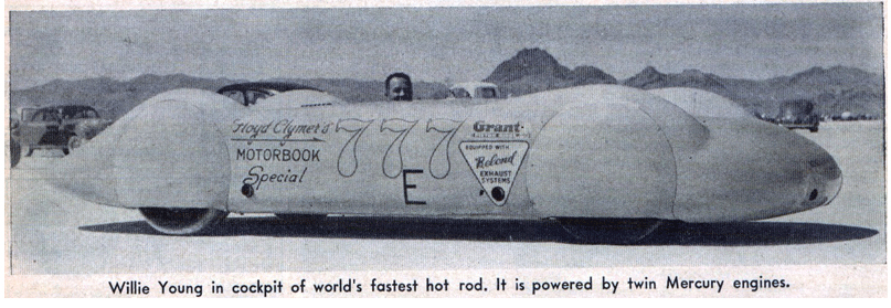 Willie Young in cockpit of world's fastest hot rod. It is powered by twin Mercury engines.
