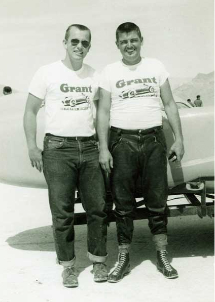 Mickey Thompson (right) and Kay Yingling in front of Challenger I, just after a 394 mph run at Bonneville Salt Flats in 1959