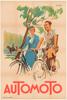 Automoto Art Deco Original Vintage Bicycle Poster by Erton
