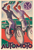 Automoto Original Art Deco Vintage Bicycle Poster by Lauro