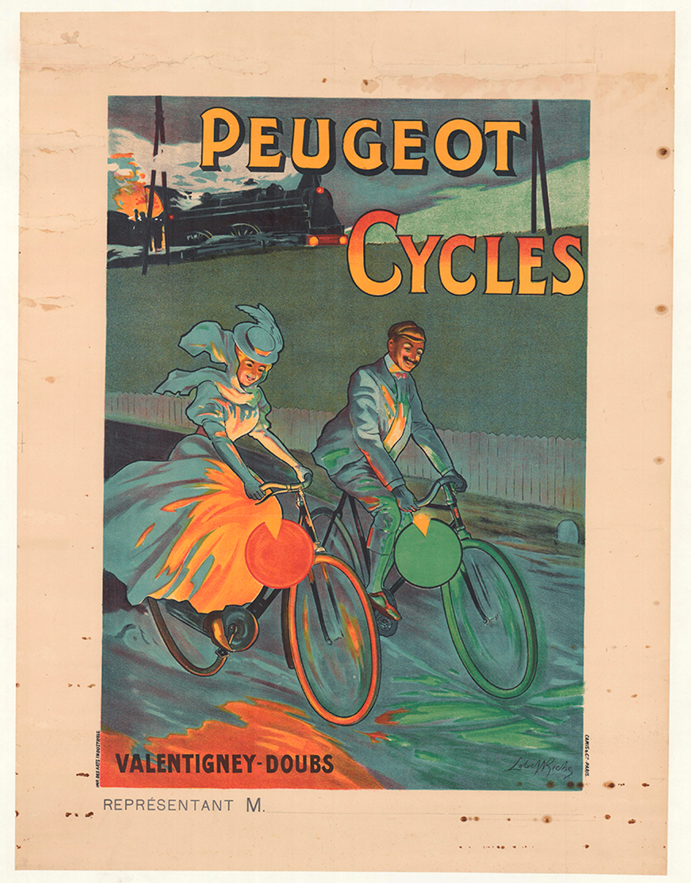 Peugeot Cycles Original Vintage Bicycle Poster by Lobel-Riche