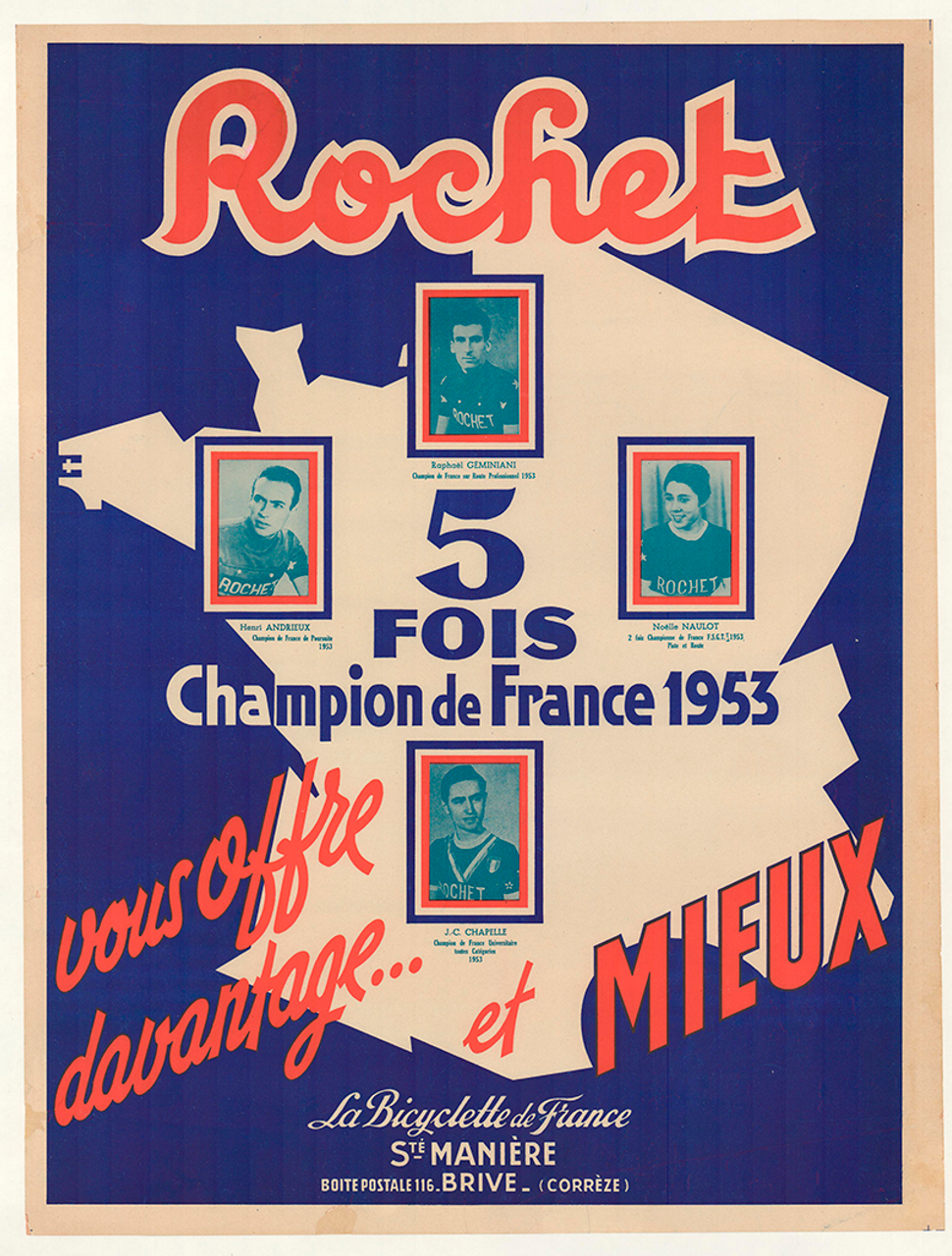 Rochet Original Vintage Bicycle Poster French Champions