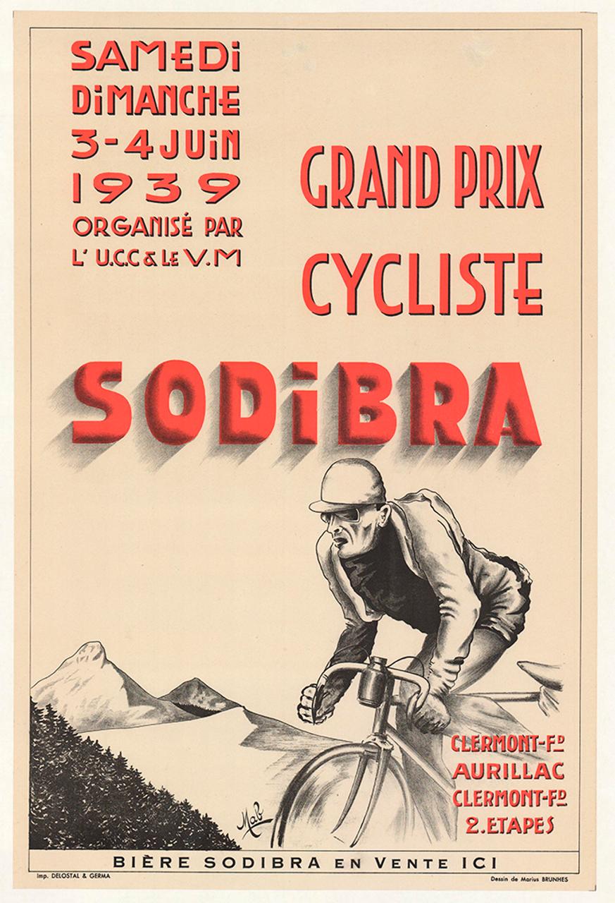 Grand Prix Sodibra Original Vintage Bicycle Poster - Racing