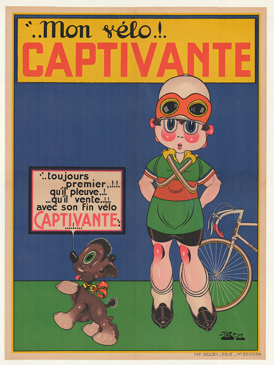Captivante Original Vintage Bicycle Poster by BOB