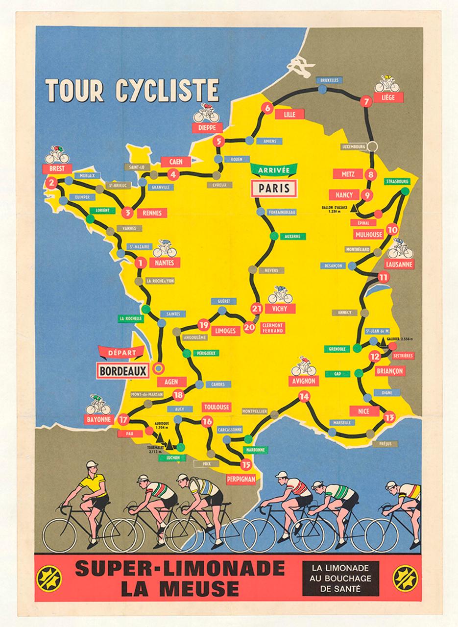 1952 Super-Limonade Tour De France Original Vintage Bicycle Poster