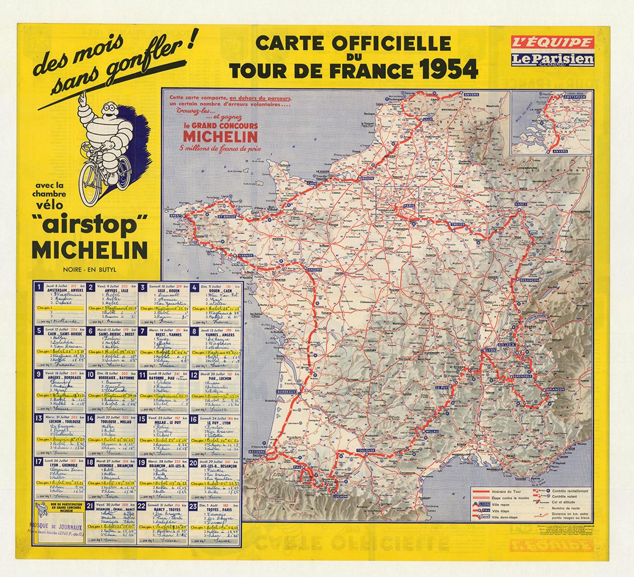 1954 Michelin Tour De France Original Vintage Bicycle Poster
