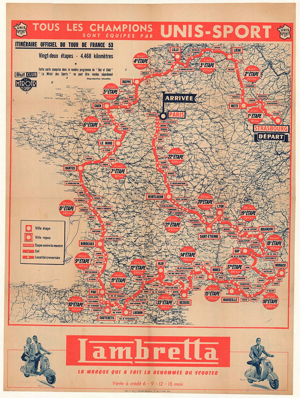 1953 Unis Sport Tour De France Original Vintage Bicycle Poster