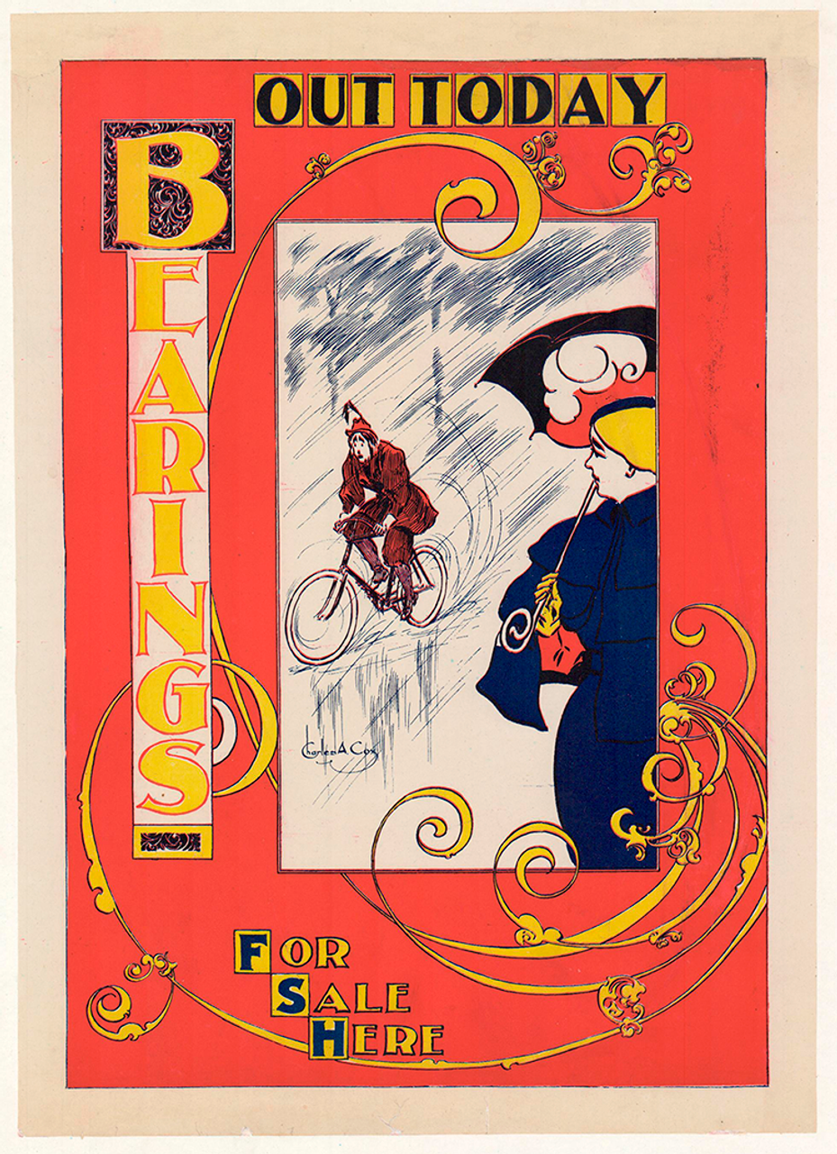 Bearings Riding in the Rain Original Vintage Poster by Charles A. Cox