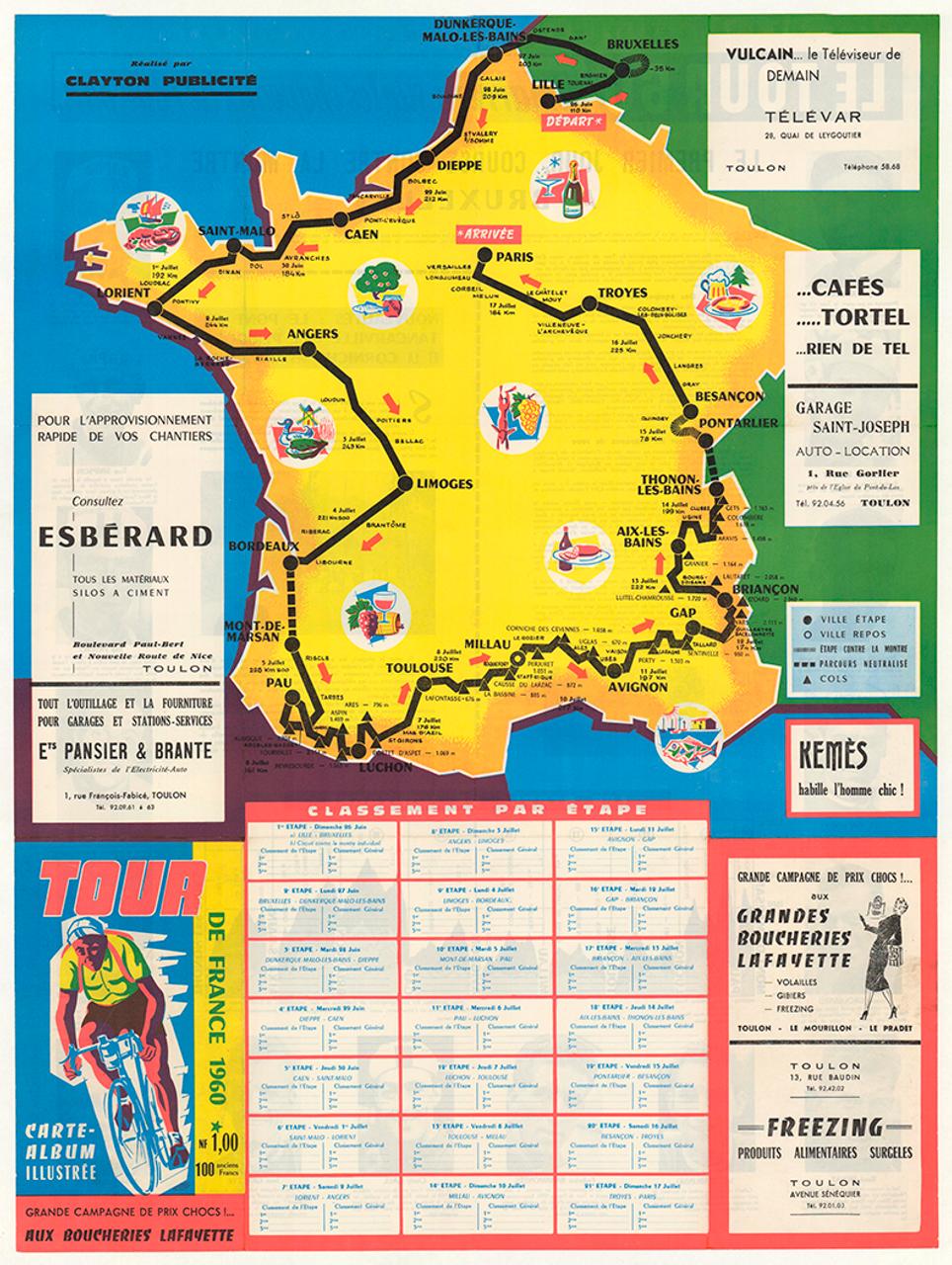 1960 Tour De France Original Vintage Bicycle Poster