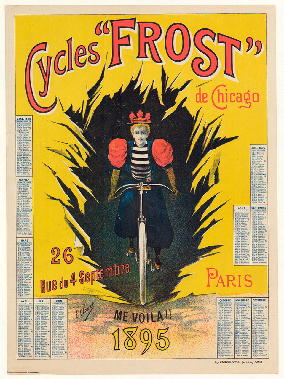 Cycles Frost de Chicago Original Vintage Bicycle Poster by Clouet