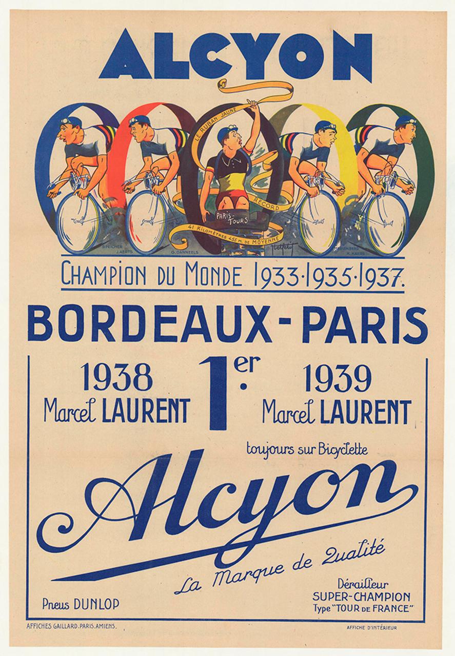 Alcyon 1939 Bordeaux-Paris Original Vintage Bicycle Poster - Racing