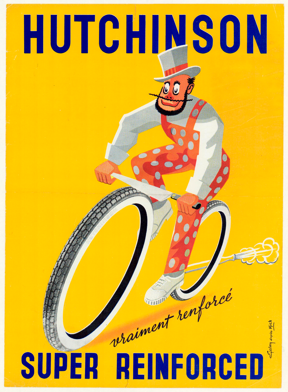 Hutchinson Super Reinforced Original Vintage Bicycle Poster by Mich