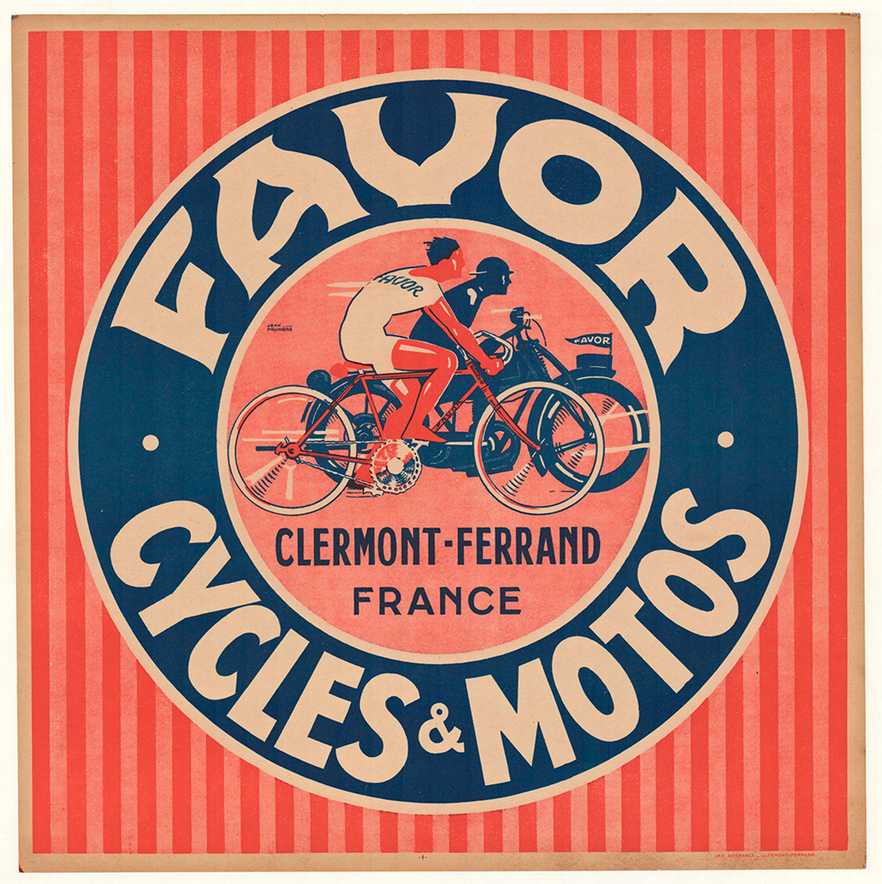 Favor Cycles & Motos Original Vintage Bicycle Poster by Jean Pruniere