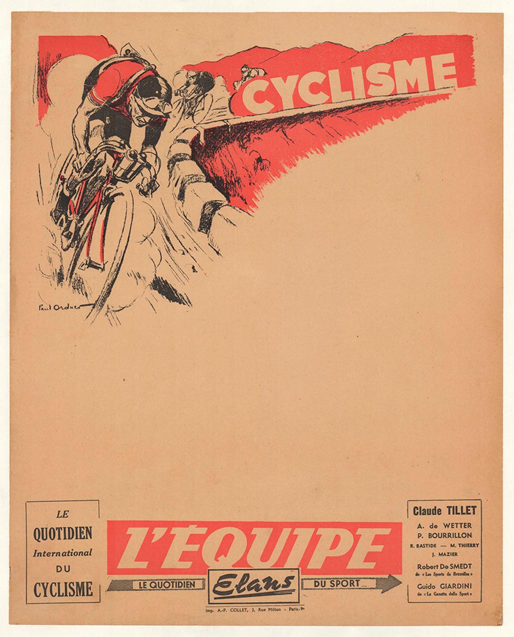 Cyclisme Original Vintage Bicycle Poster by Paul Ordner