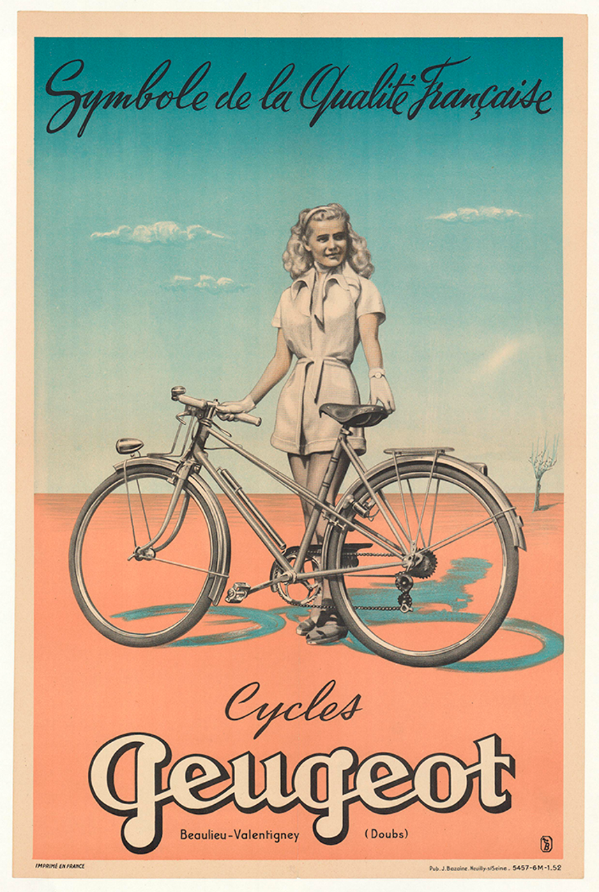 Cycles Peugeot Original Vintage Bicycle Poster