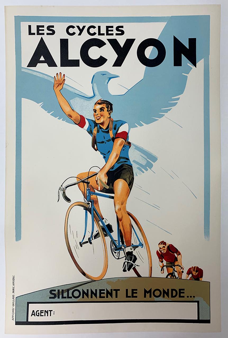 Alcyon Original Art Deco Vintage Bicycle Poster - Racing