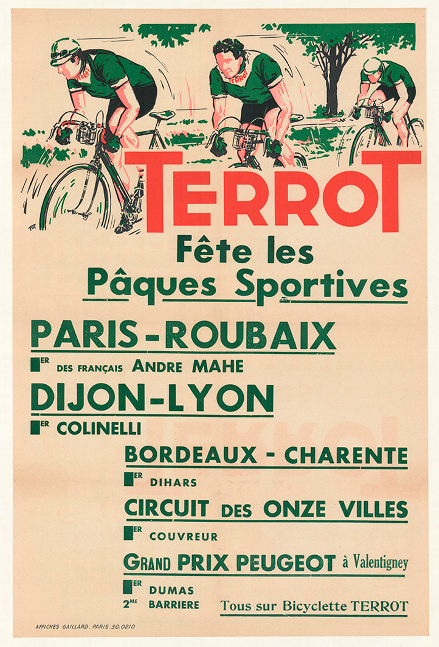 Terrot 1950 Paris-Roubaix Original Vintage Bicycle Poster
