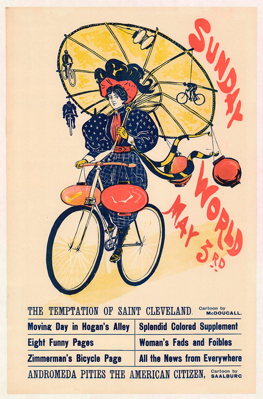 New York Sunday World Original Vintage Bicycle Poster